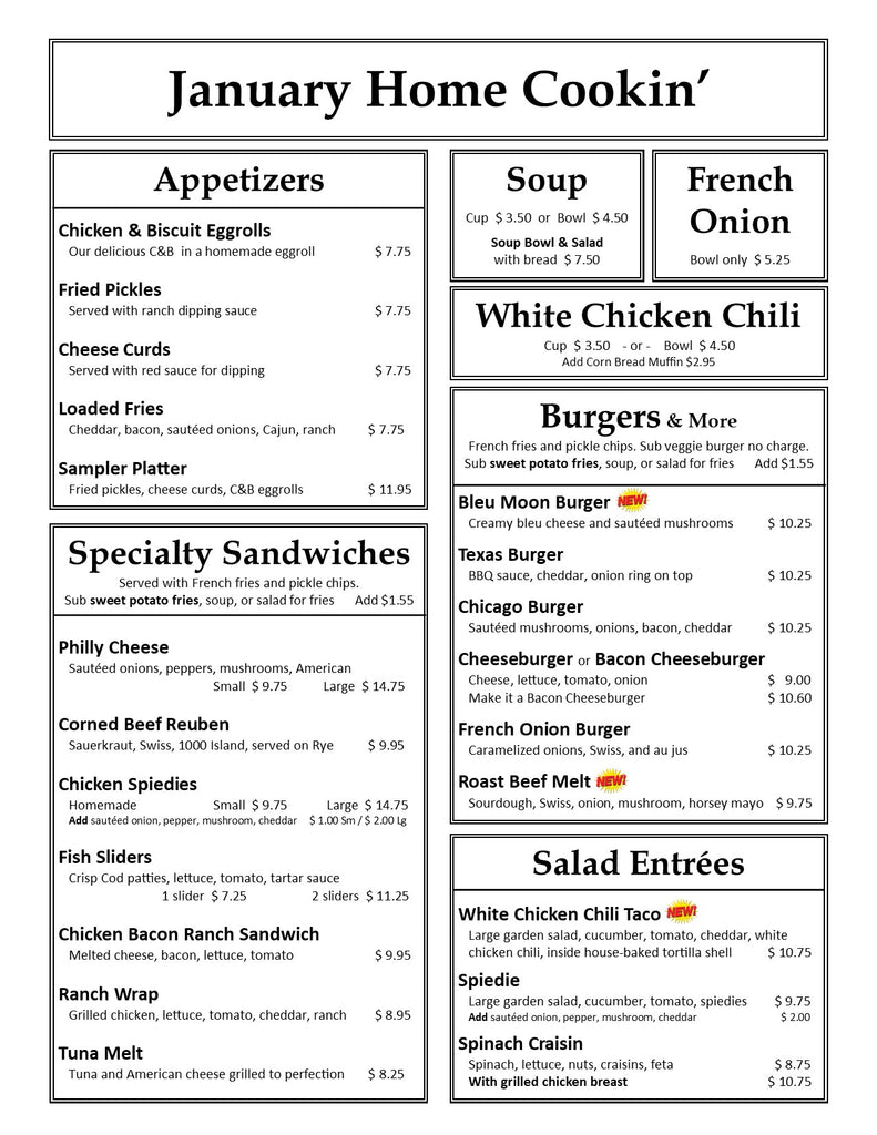 January 2021 Lunch & Dinner Page 1