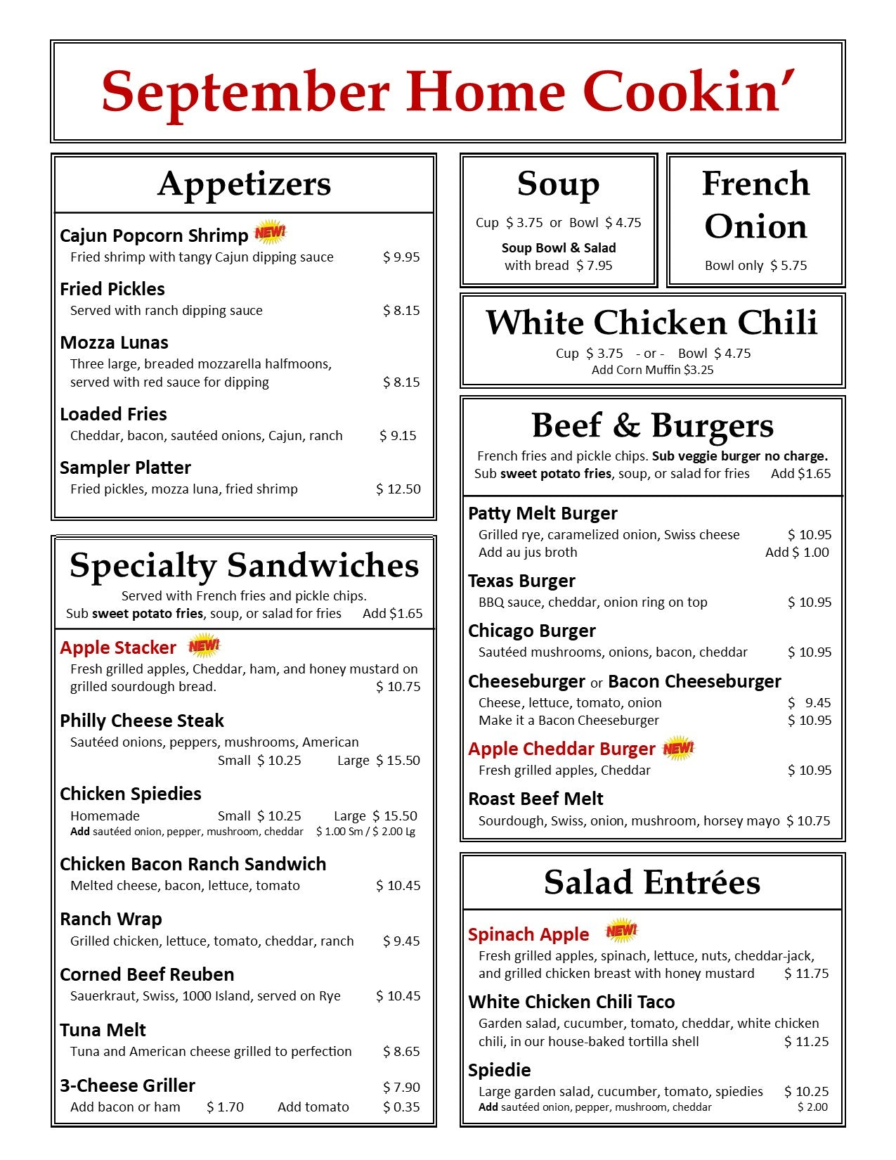 September Lunch & Dinner Page 1