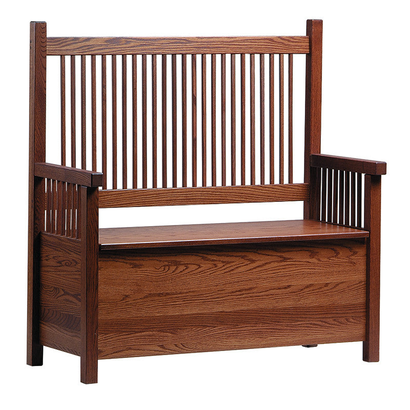 Mission Deacon's Bench with Wooden Seat (V16 #61)