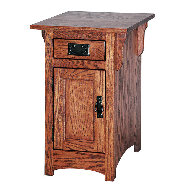 Mission Cabinet Chairside Table with Door & Drawer (V16 #106)