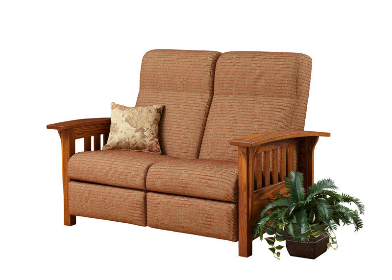 Mission Reclining Lovseat in Fabric with Wide Slats (Elmwood #162)