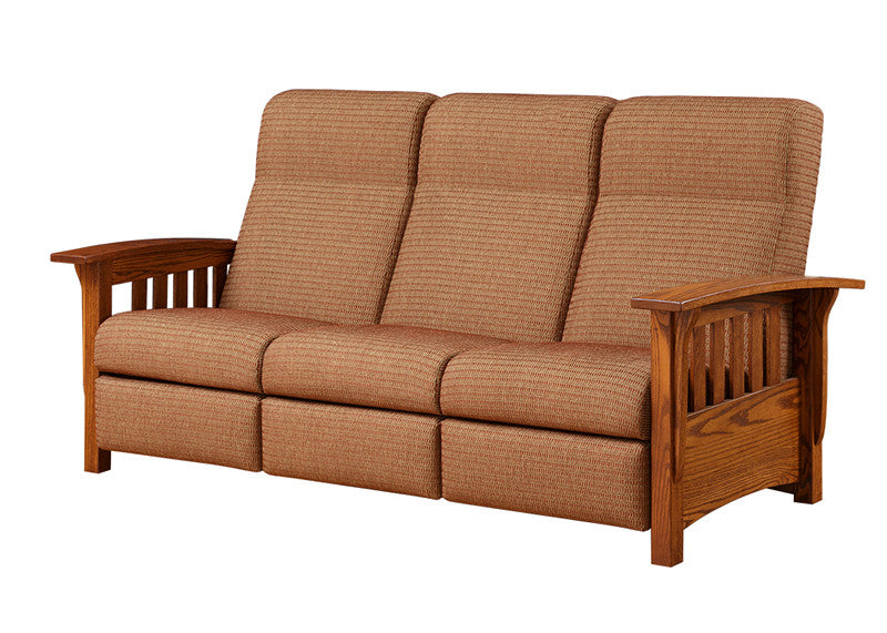 Mission Reclining Sofa in Fabric with Wide Slats (Elmwood #163)