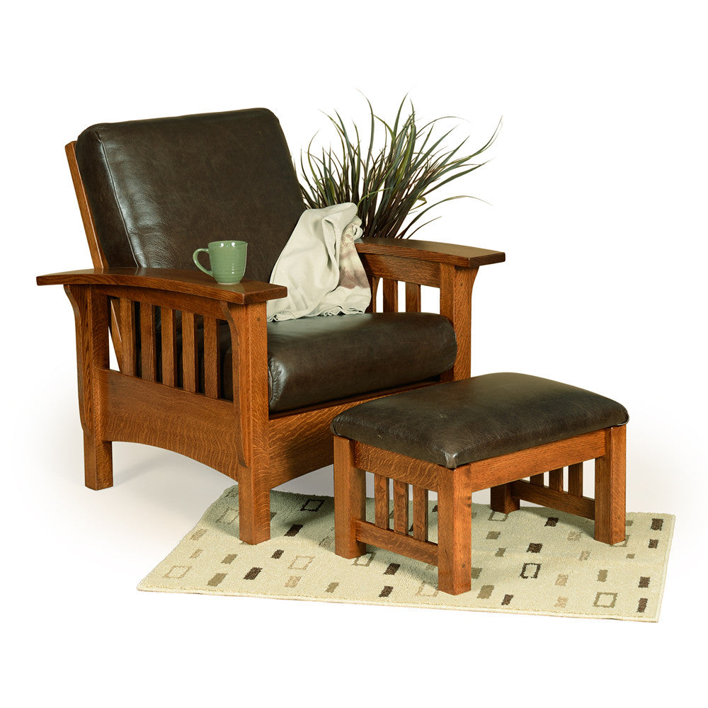 Mission Morris Reclining Chair in Leather with Wide Slats (Elmwood #184 & #187)