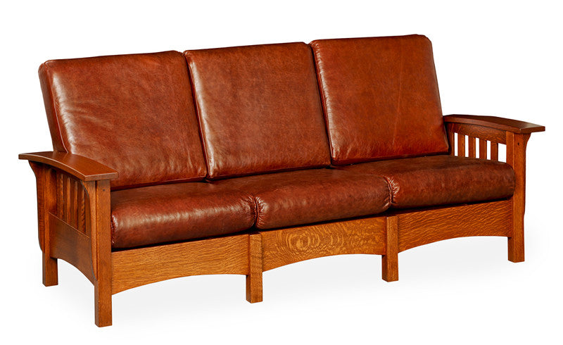 Mission Sofa in Leather with Wide Slats (Elmwood #186)