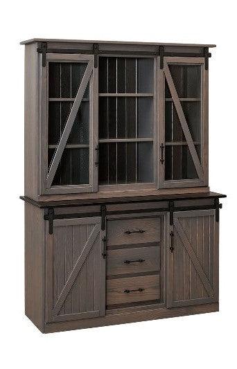 Barn Door Hutch w/Glass Door (V10 #198)