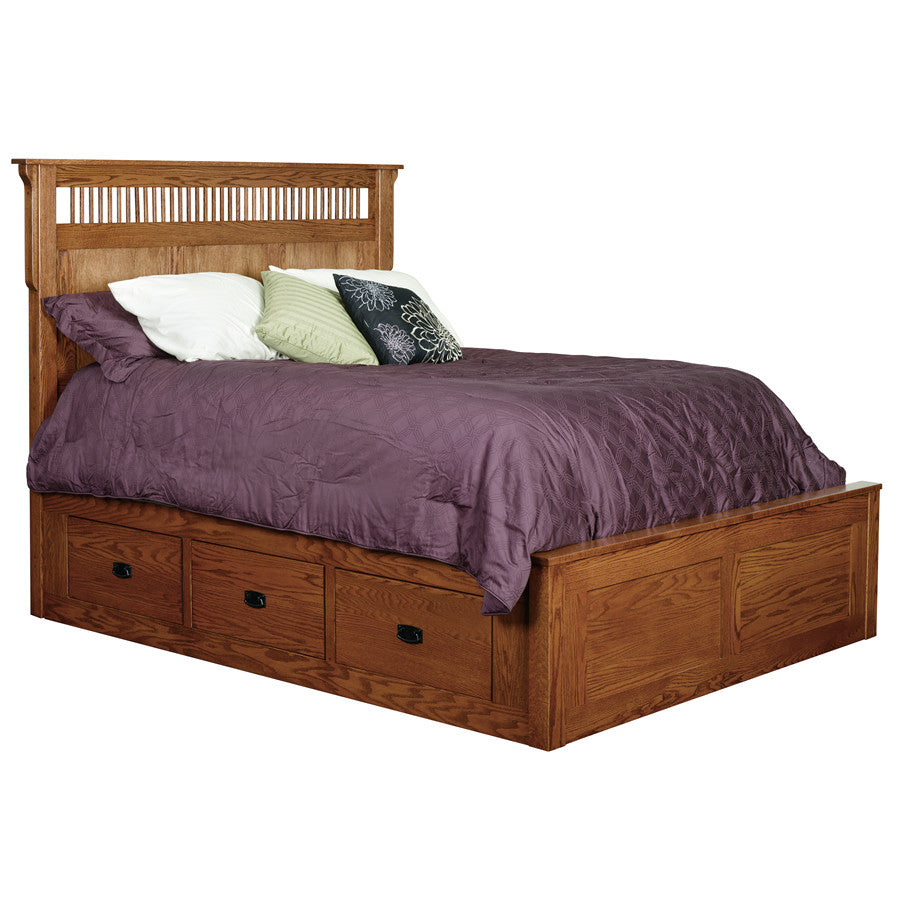 Mission Deluxe Bed with 6 Side Drawers (V16 #215D6)