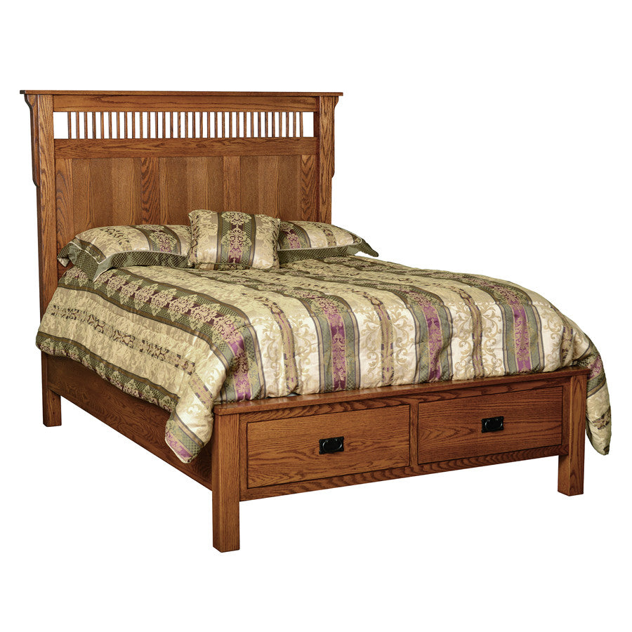 Mission Deluxe Bed with End Drawers (V16 #215D2)