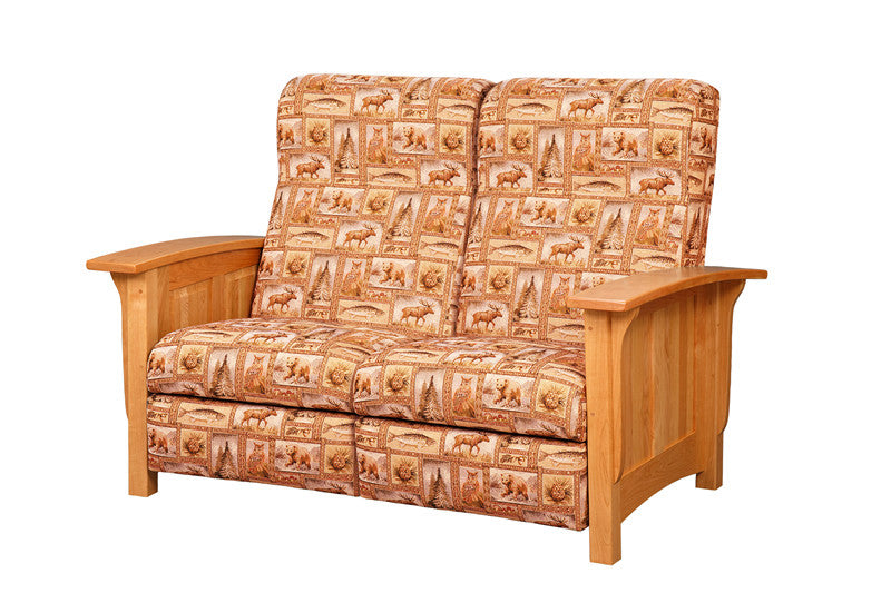 Mission Reclining Loveseat in Fabric with Panel Arms (Elmwood #262)