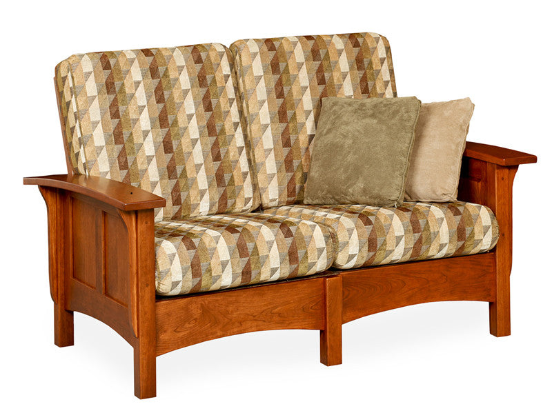 Mission Loveseat in Fabric with Panel Arms (Elmwood #285)