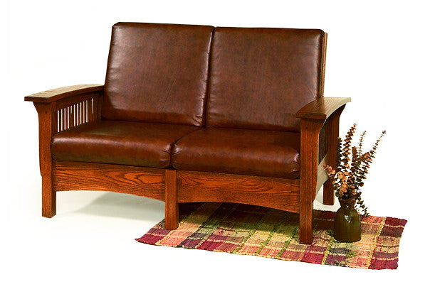 Mission Lovseat in Leather with Thin Slats (Elmwood #31)
