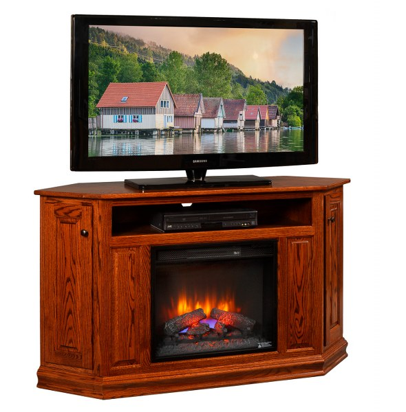 "Corner TV Stand with 23"" Fireplace (Mt Pleasant #410)"