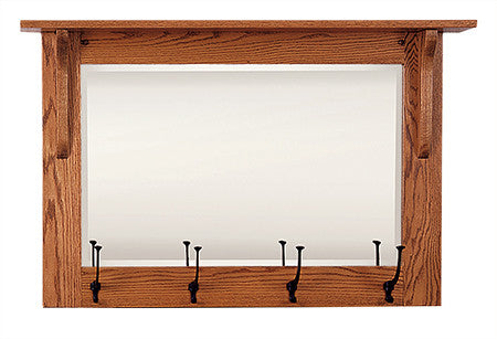 Mission Wall Mirror with Hooks (Elmwood #49)