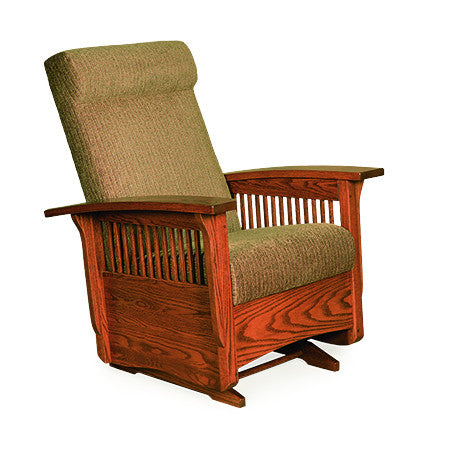 new style 3bfc9 0e733 Mission Gliding Chair in Fabric with Thin Slats (Elmwood #52 ...