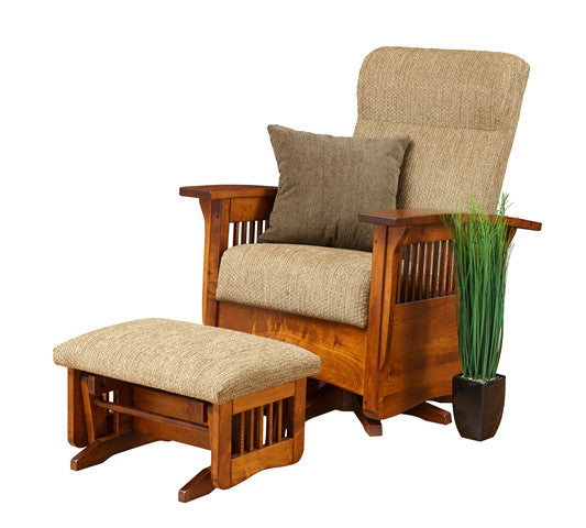 Mission Swivel Gliding Chair in Fabric with Thin Slats (Elmwood #53)