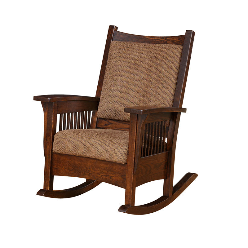 Mission Rocking Chair in Fabric with Thin Slats (Elmwood #55)