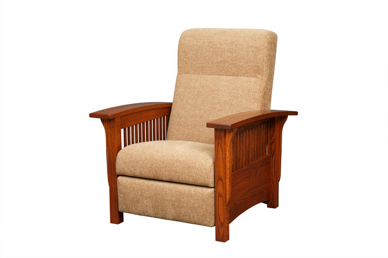 Mission Reclining Chair in Fabric with Thin Slats (Elmwood #61)