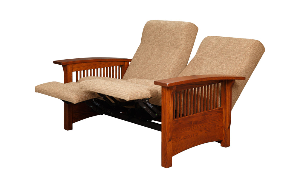 Mission Reclining Lovseat in Fabric with Thin Slats (Elmwood #62)