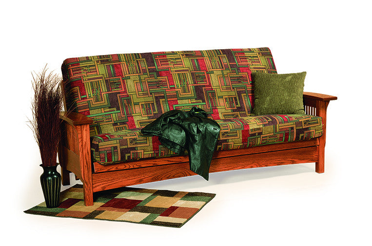Mission Futon Sofa in Fabric with Thin Slats (Elmwood #68)