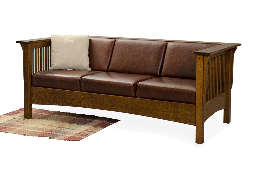 Mission Shelter Club Sofa in Fabric with Thin Slats (Elmwood #80)