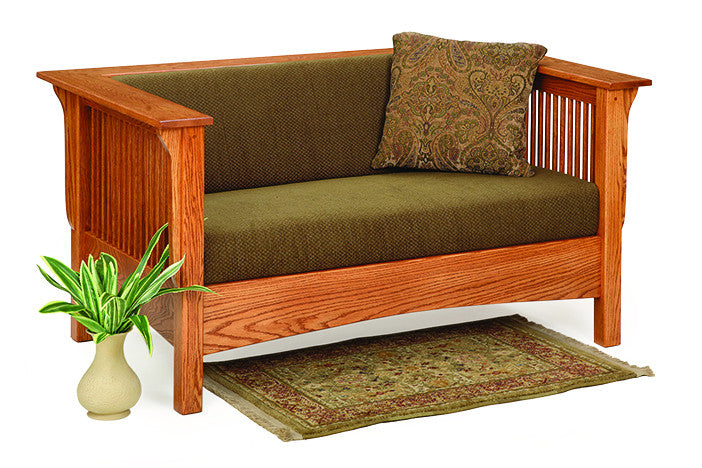 Mission Shelter Club Loveseat in Fabric with Thin Slats (Elmwood #81)