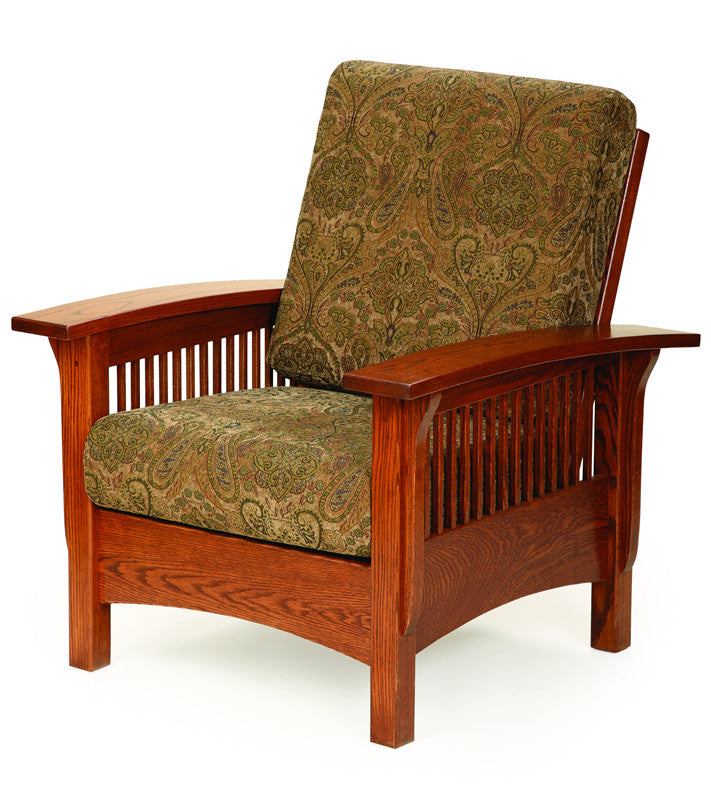 Mission Morris Reclining Chair in Fabric with Thin Slats (Elmwood #84)