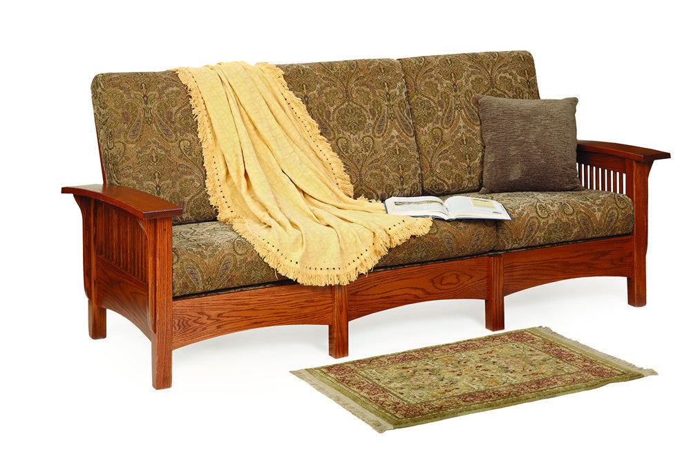 Mission Sofa in Fabric with Thin Slats (Elmwood #86)