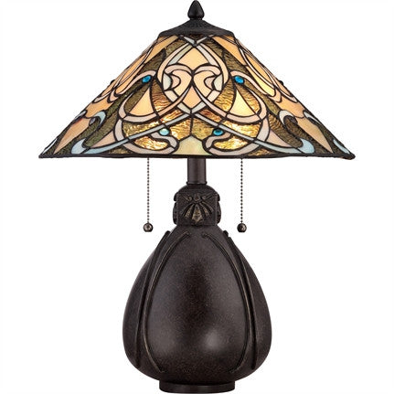 India Tiffany Table Lamp (Quoizel # TF1846TIB)