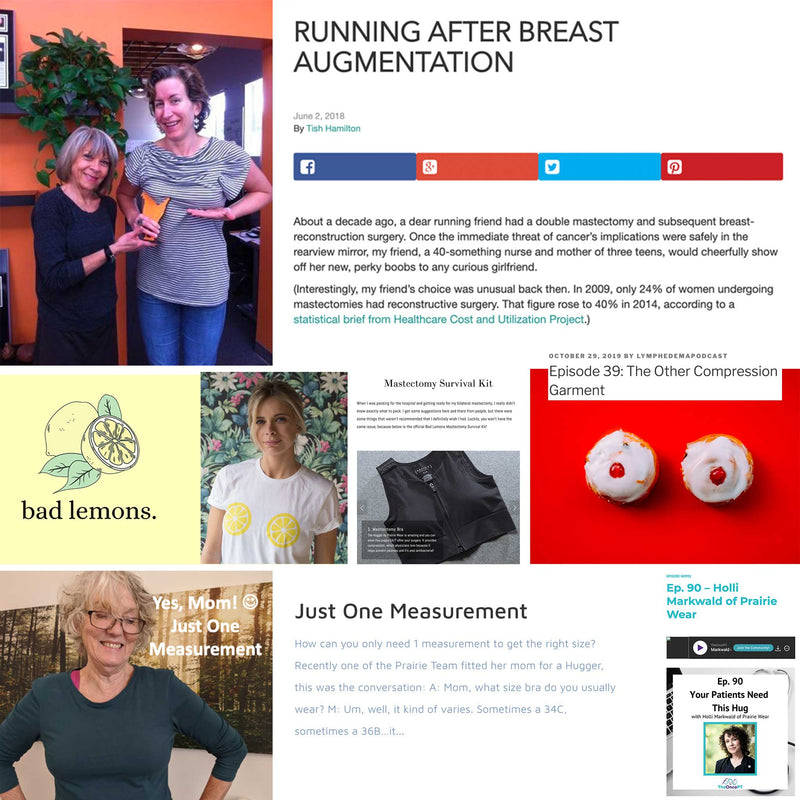 Learn from the experts who've tried our Hugger bras - some articles, blogs, interviews and stories from those who love our Huggers bras as running bras, post-surgical bras, everyday bras, lymphedema bras and more.