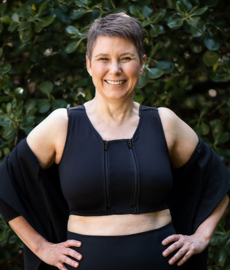Versatile compression bras with breast & body pockets, and zip-in Extender to size up or down as your body needs it. Medium to High compression in easy to use bras designed to be so comfortable you can wear them 24/7.