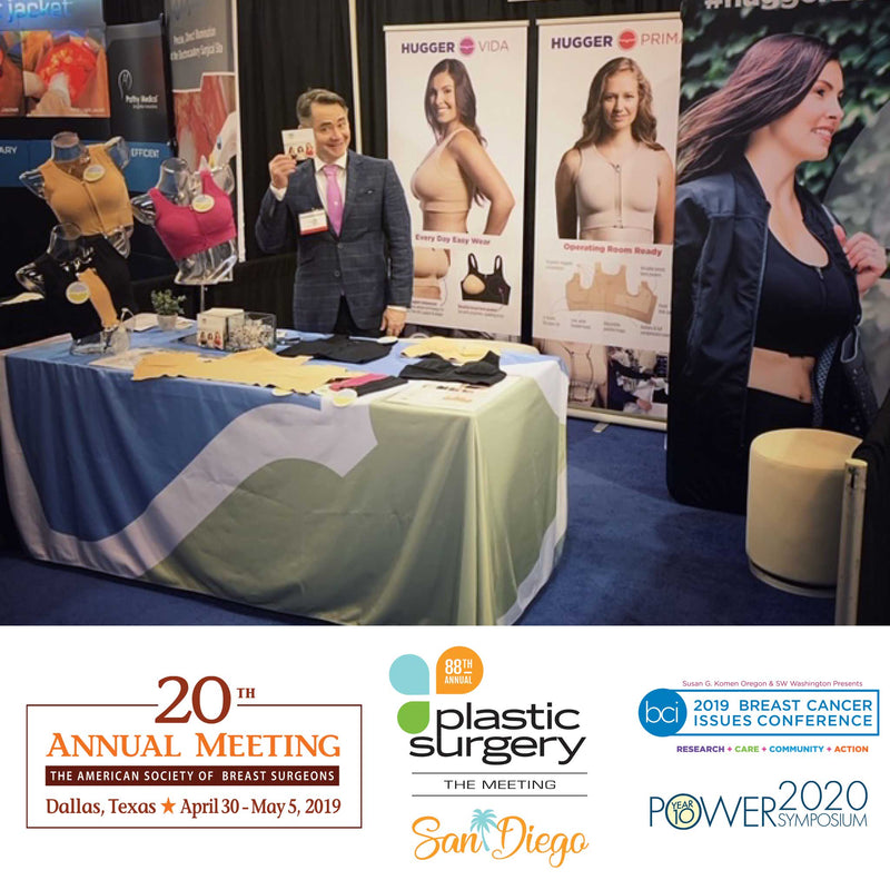 You may have seen us at these conferences for surgeons, medical professionals, lymphedema specialists, and breast cancer support options. Hugger bras are used as Post-surgical bras, lymphedema bras, everyday bras and also as chemo bras, nursing bras.