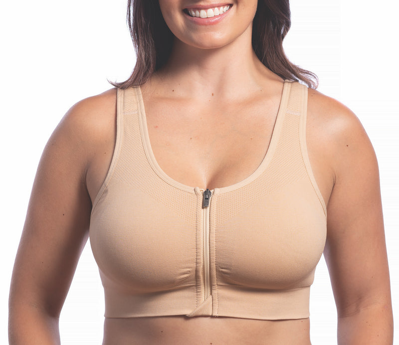 Front Lock Zipper on HuggerVIDA shown in Wheat Beige. Medium to Low compression. Everyday, wire-free bra for comfort and support. Made especially for those want lower compression that still shapes & supports for really comfortable wear; women who prefer to sleep in a bra; those transitioning from a higher compression garment post-surgically; women needing a comfortable go-to bra for the demands of daily life. Daily bra. Sleep bra. Comfy bra. Easy bra sizes. Go to bra.