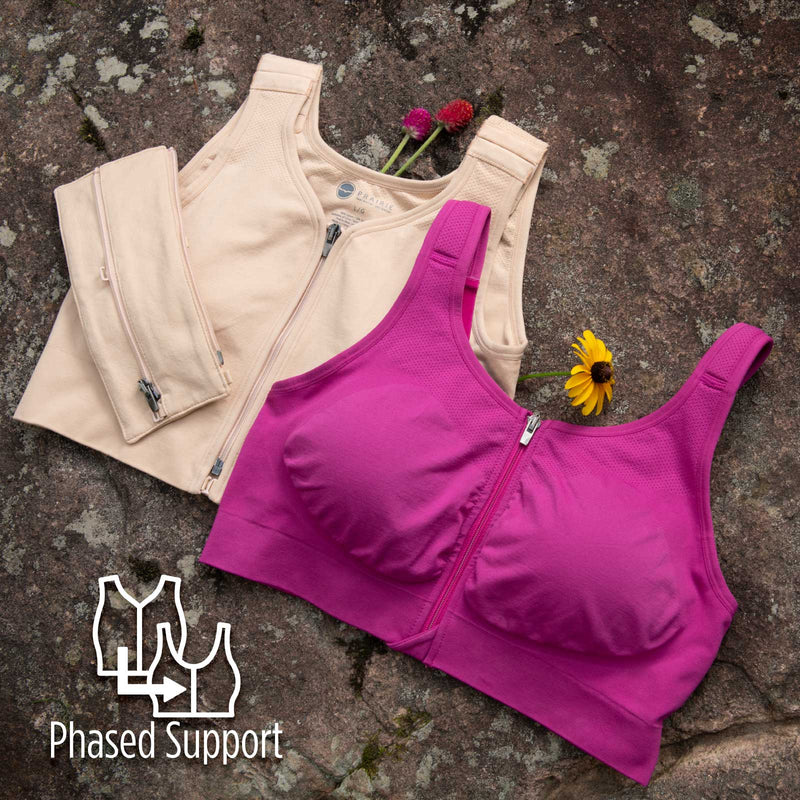 """Phased support"" means because of the differences in coverage (ie. how much of the skin is covered by the Hugger), compression levels, and structural support zones (ie. where it has higher in-built compression & support), our range of Huggers can adapt to your needs and support you in whatever ways you need without having to buy several sizes of one garment."