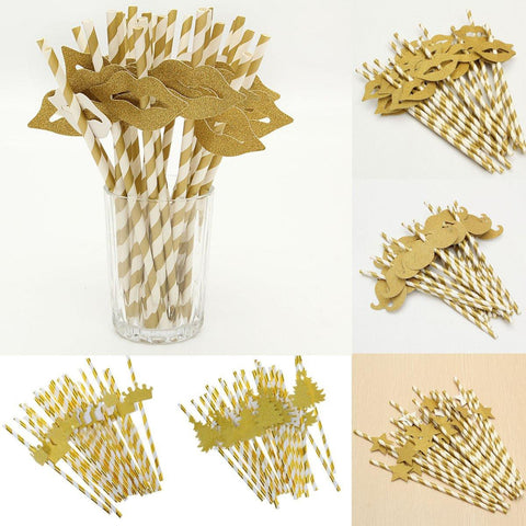 25 piece Paper Cocktail Drinking Straws