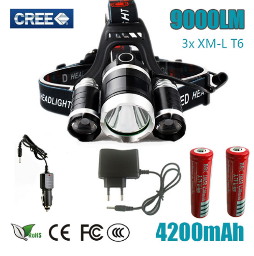 CREE XML T6+2R5 LED 9000 Lumen Headlamp