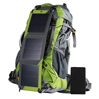 65L Hiking Backpack With Device Charging Solar Panels And Hydration Pack