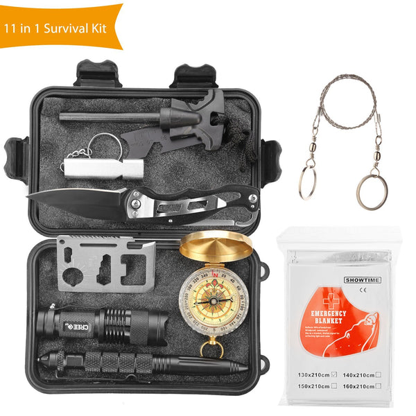 Halcent Survival Tools 11 In 1 Emergency Survival Kit with Fire Starter Emergency Blanket Compass etc Outdoor Wilderness Survival Kit for Camping Hiking Travelling