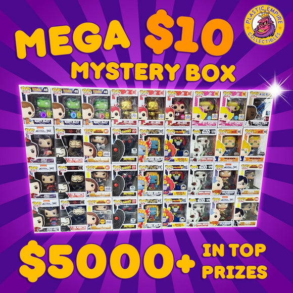 MEGA $10 MYSTERY BOX (1) FUNKO POP! PER BOX OVER $5000+ IN TOP PRIZES INCLUDING 3 X PLASTIC EMPIRE GLOW MARTY MCFLY EXCLUSIVE