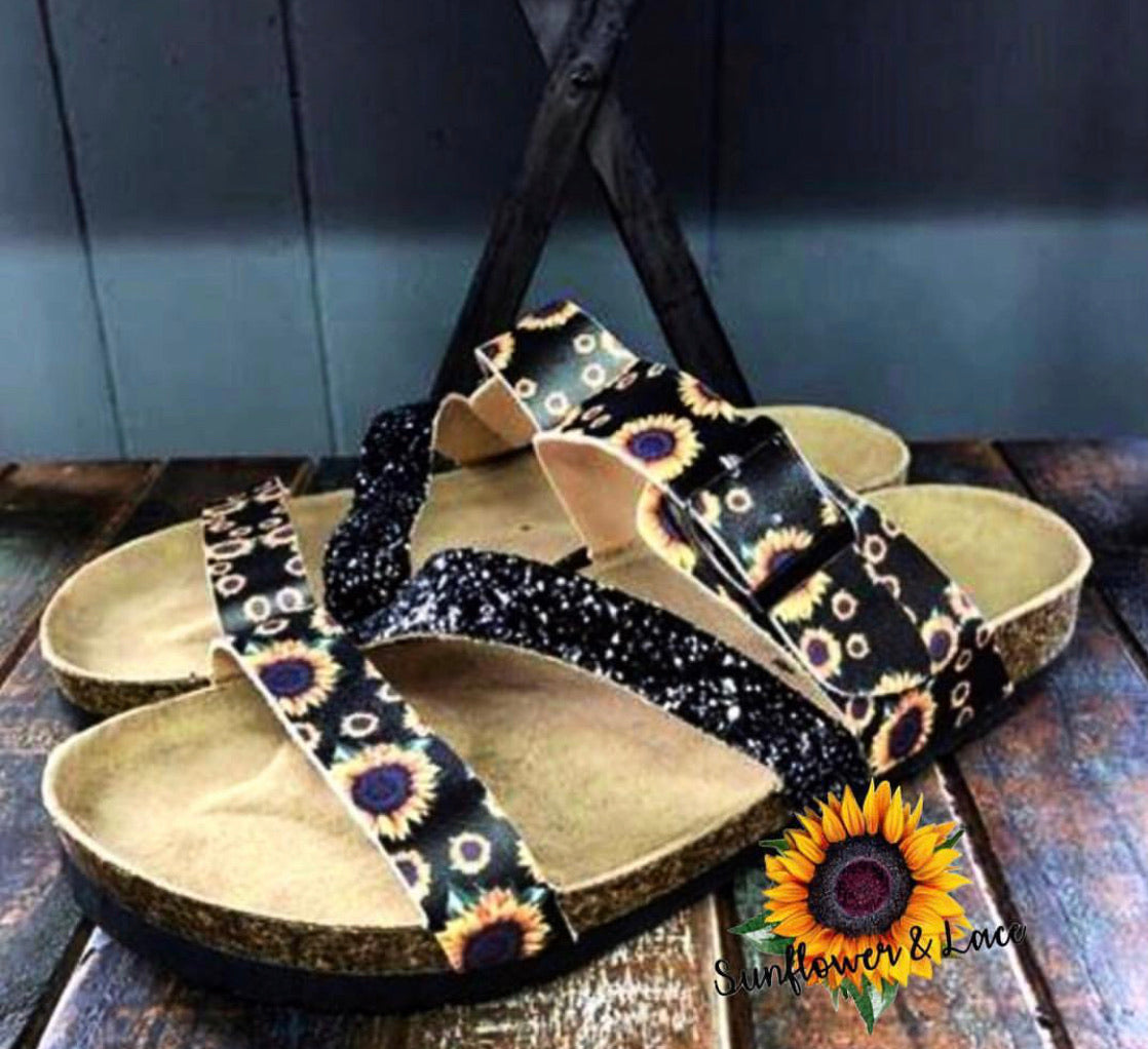 Sunflower glitter sandals