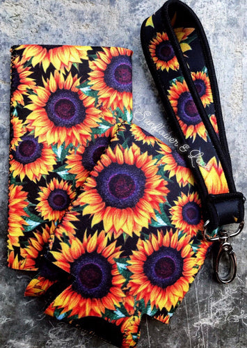 SUNFLOWER SUMMER SET * Koozies & wristlet*