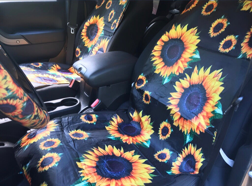 sunflower car slip covers sold in a set