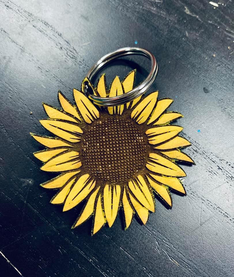 SUNFLOWER WOOD KEYCHAIN HAND PAINTED