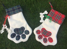 Paw Print Stocking with embroidered personalization