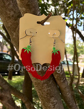 Embroidered Chili Pepper Earrings