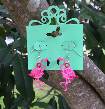 Embroidered Flamingo Earrings