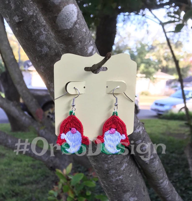 Embroidered Gnome Earrings