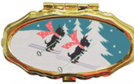 Andrea Garland - Skiing Scotties, Pill Box Lip Balm