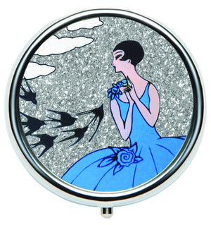 Andrea Garland - Art Deco Glitter: Swallows, Lip Balm Compact