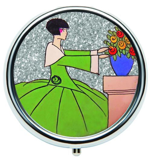 Andrea Garland - Art Deco Glitter: Floral Pot, Pill Box Lip Balm