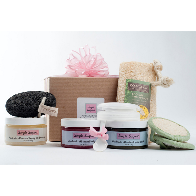 Simple Sugars - Head To Toe Sampler - 1 5oz Green Tea Facial Scrub, 1 8oz Body Scrub and 1 Happy Feet Foot Scrub
