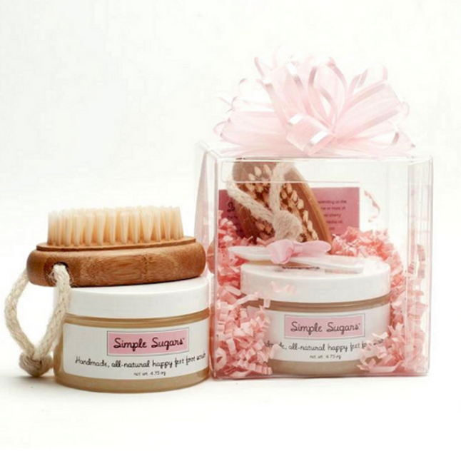 Simple Sugars - Pedi-In-A-Box: 5 oz. Happy Feet Foot Scrub & Foot Brush